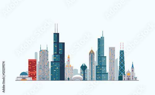 Fototapeta premium Chicagowska kolorowa linia horyzontu