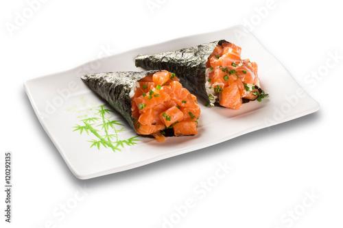 Sushi temaki Salmon isolated on white background