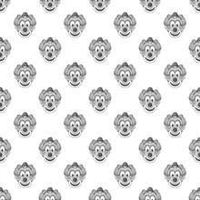 Clown Seamless Pattern On White Background. Jester Design Vector Illustration