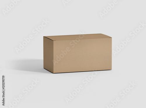 photorealistic high quality rectangle kraft package box mockup on
