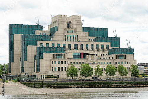 Photo  The Secret Intelligence Service building, known as MI6, featured in a James Bond film and located on the bank of the River Thames beside Vauxhall Bridge