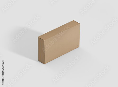 photorealistic high quality wide flat rectangle kraft package box