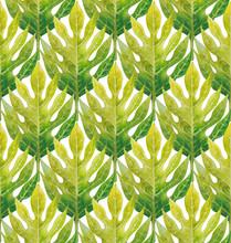 Watercolor Breadfruit Leaves Pattern