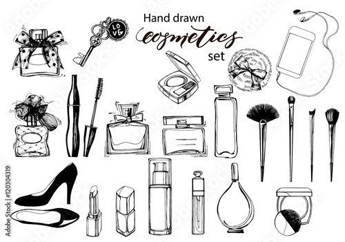 Fotografie, Obraz  Hand drawn collection of make up and cosmetics