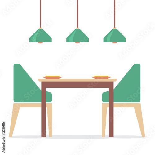 Fototapeta Flat Design Interior Dining Room Vector Illustration obraz