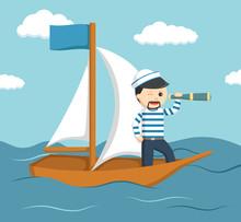 Sailor On Ship Illustration Design