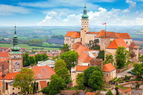 Old European Town with castle and clock Poster