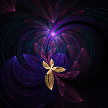 Beautiful Yellow Flower. Abstract Glowing Stained Glass With Floral Ornament On Black Background. Asymmetrical Design. Computer-generated Fractal In Yellow, Violet And Rose Colors.
