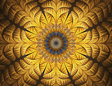 Golden Flower. Abstract Glowing Stained Glass With Floral Pattern On Black Background. Computer-generated Fractal In Blue, Yellow, And Brown Colors.
