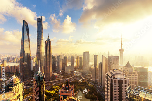 Photo Stands Shanghai cityscape and skyline of shanghai at sunrise