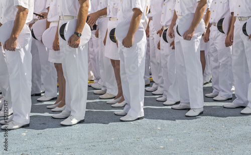 Navy personnel in formation Canvas Print