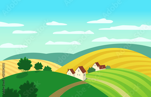 Keuken foto achterwand Turkoois Autumn landscape. Cartoon farm houses silhouettes. Country winding road on meadows and fields. Rural community view among hills. Village countryside scene background. Vector Illustration