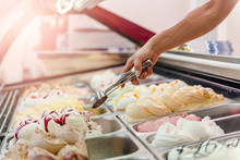 Woman Serving Ice Cream
