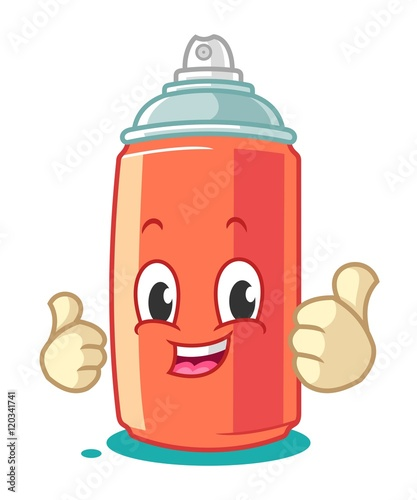 Photo  Spray Paint Mascot Cartoon Vector Illustration Thumbs Up