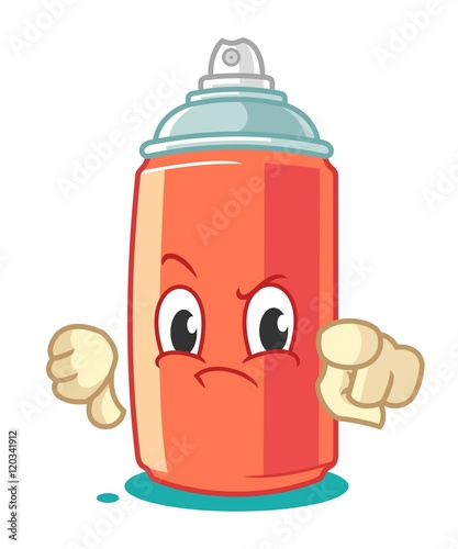 Photo  Spray Paint Mascot Cartoon Vector Illustration Thumbs Down