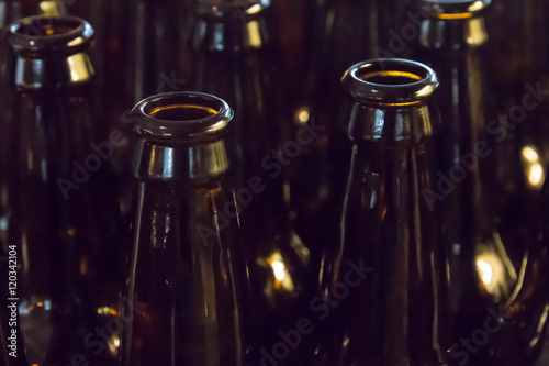 Fotografering  Empty glass beer bottles, full frame