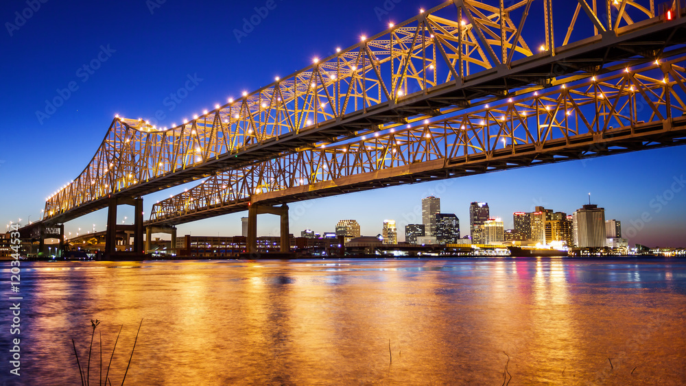 Fototapeta New Orleans City Skyline & Crescent City Connection Bridge at Night