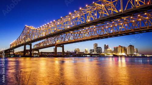 New Orleans City Skyline & Crescent City Connection Bridge at Night Wallpaper Mural