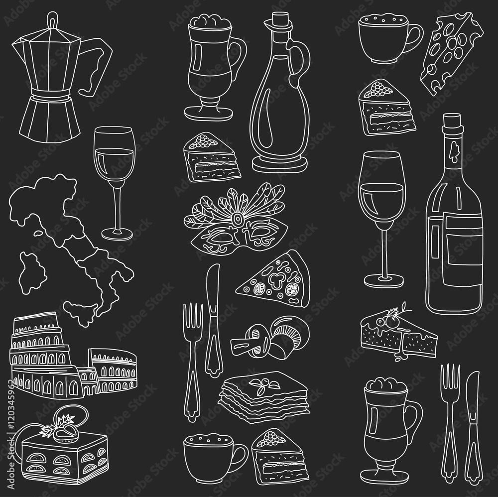 Vector doodle set for italian menu. Food Travel Cuisine Restaraunt Journey