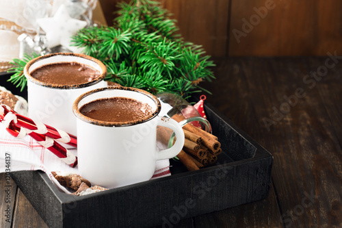Foto op Plexiglas Chocolade Christmas mugs of hot chocolate and homemade gingerbread cookies, selective focus. Christmas Holiday background, vintage style