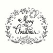 Merry Christmas Card. Winter Holiday Typography. Handdrawn Lettering. Frame With Line Art Christmas Elements.