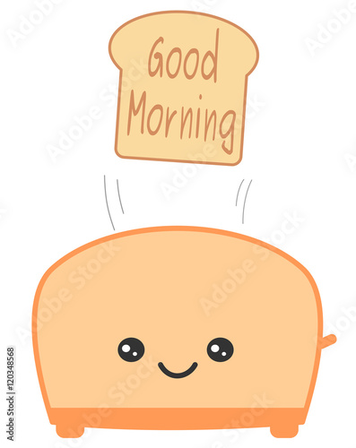 Cute Cartoon Toaster And Toast Bread With Have A Nice Day Quote