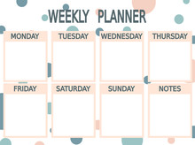 Cute Blue Pink Vector Printable Weekly Planner With Circles