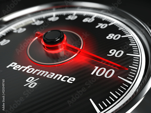 Photo Performance level meter with arrow on 100%, 3d render