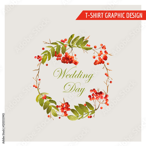 Fotografie, Obraz  Vintage Autumn Floral Graphic Design - for Card, T-shirt, Fashion