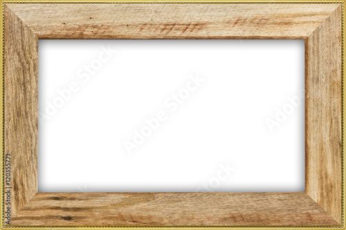 Classic vintage wood with gilded frame isolated on white backgr ...