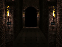 Dark Castle Corridor 3d Illustration