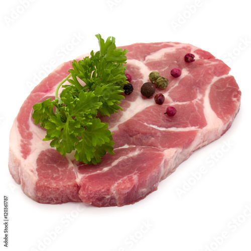 Poster Pays d Europe Raw pork neck chop meat with parsley herb leaves and peppercorn
