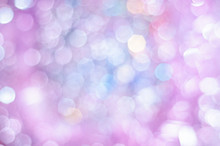 Blurred Pale Lilac And Blue Background With Bokeh Lights