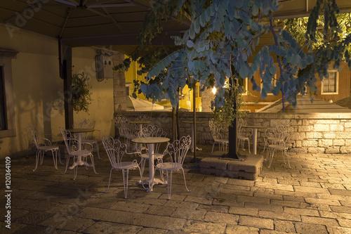 Little vintage cafe bar at night Poster