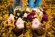 canvas print picture - Friends having fun in leaves