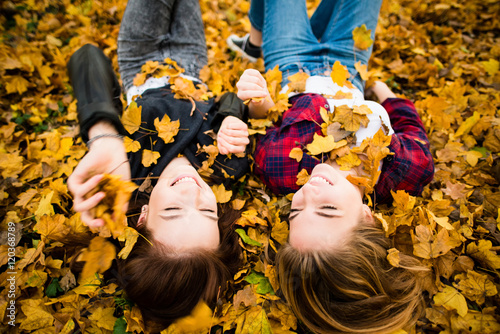 Friends having fun in leaves Poster