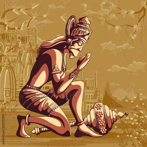 Cadres-photo bureau Carnaval Indian God Hanuman flying with mountain