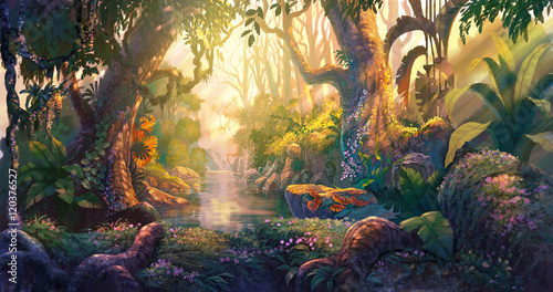 Sunset in fantasy forest