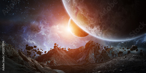 Gigantic asteroids about to crash earth 3D rendering elements of