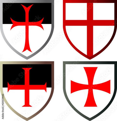 Photo  Shields of Templar Knights, vector icons, isolated