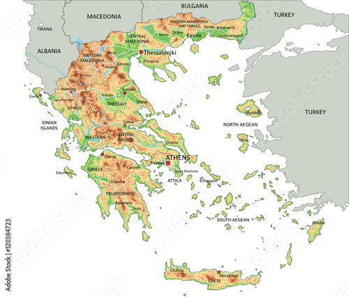 Photo High detailed Greece physical map with labeling.