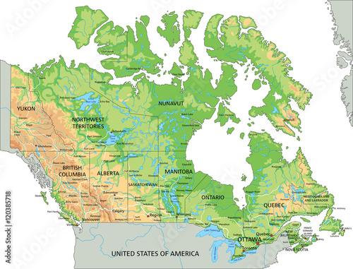 High detailed Canada physical map with labeling. – kaufen ...