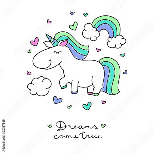 rysunkowy-jednorozec-tecza-i-napis-dreams-come-true-na-bialym-tle