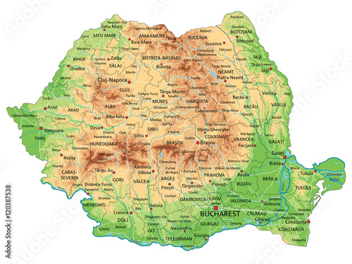 Obraz na plátně High detailed Romania physical map with labeling.