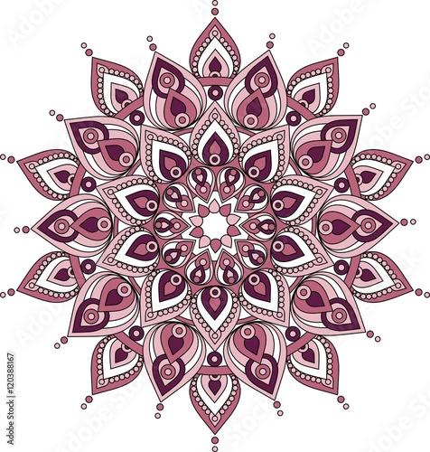 Vector decorative pink and purple  mandala illustration Canvas Print