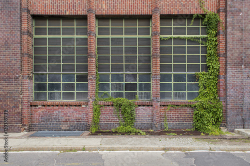 red brick old factory windows and ivy