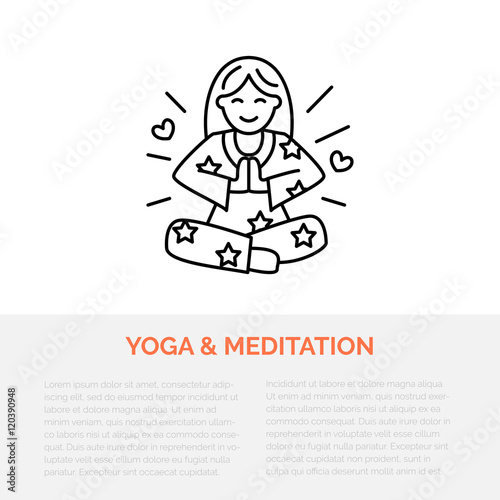 Meditation Illustration Modern Line Icon Of Girl In Padmasana Yoga Linear Logo Outline Symbol For Relaxation Healthy Sleep Design Element For Site Brochure Meditation Produce Love Energy Buy This Stock Vector