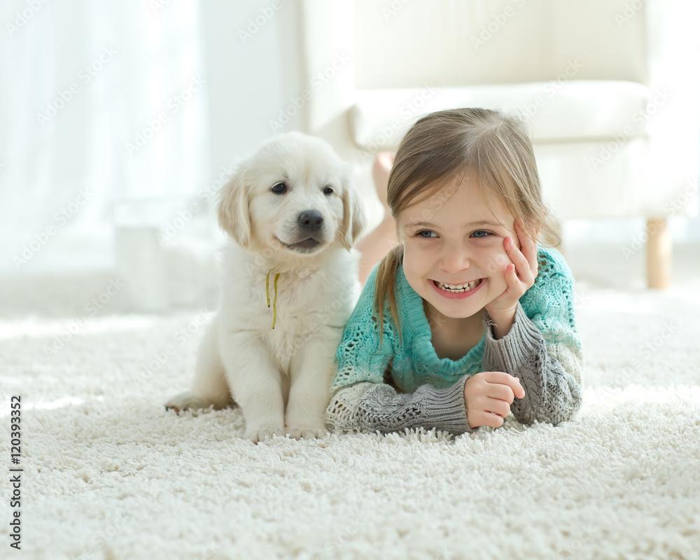 Fototapety, obrazy: Child and dog