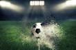 canvas print picture - Fussball explodiert im Fussballstadion