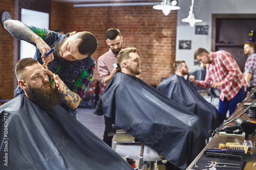 Work in the Barber shop. Canvas Print